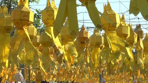 Many Yellow Lanterns stock footage
