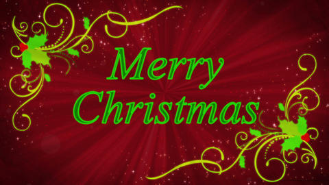 Merry Christmas Holly Burst Red Background Animation