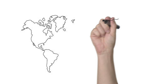 Whiteboard World Map stock footage