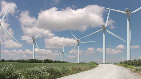 Wind Farm And Clouds. Timelapse stock footage