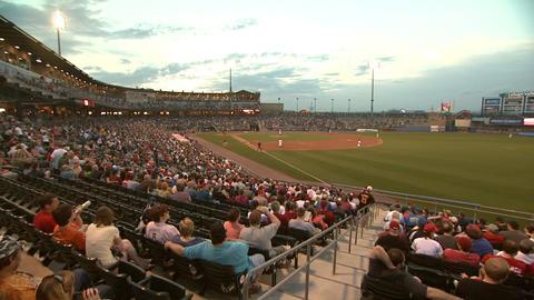 Baseball Game Stadium Crowd pan left Footage