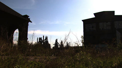 Bethlehem Steel Ruins Blast Furnace Wide stock footage