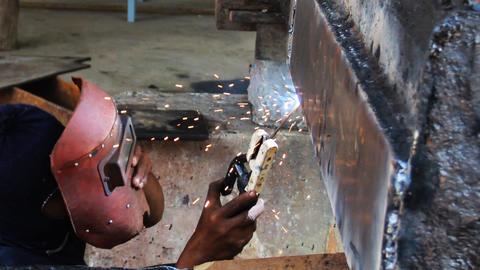 Welding work repair the boat Footage