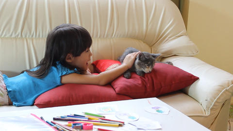 Good Cat And Little Girl stock footage