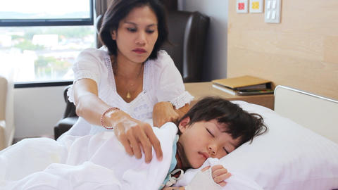 Mother Look After Daughter In The Hospital stock footage