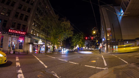 Quiet night traffic in Gastown, Vancouver Footage