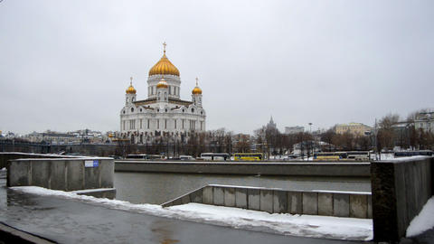 MOSCOW, RUSSIA Winter view of Christ the Savior Ca Footage
