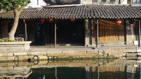 Traditional Chinese houses in morning,XiTang Water Town,shanghai,china Animation
