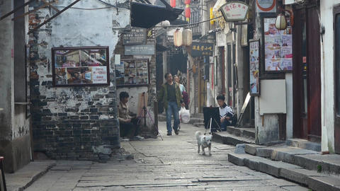 traditional Chinese old town houses & street,some students drawing Animation