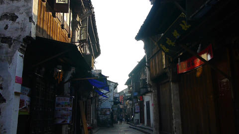traditional Chinese old town houses & street,Chinese residents life Animation