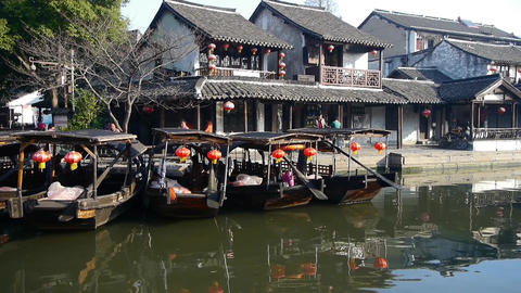 Traditional Chinese houses in XiTang Water Town,float boats,shanghai Animation