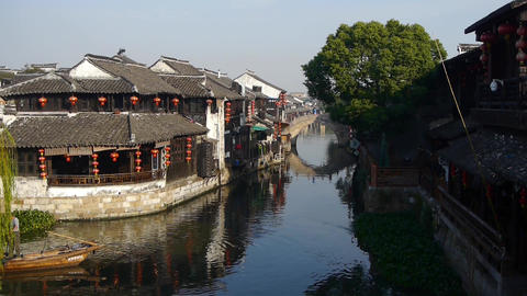 Traditional Chinese houses in XiTang Water Town,fishman boating,shanghai,China Animation