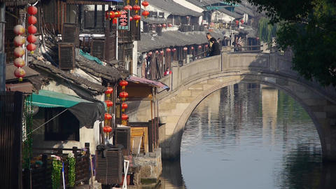 Traditional Chinese houses & bridge in XiTang Water Town,shanghai,China Animation
