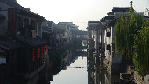 Traditional Chinese houses in XiTang Water Town,shanghai,China Animation