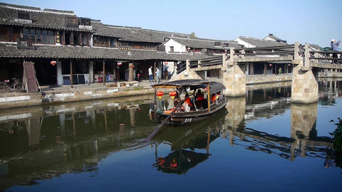 boating through Chinese ancient houses,water town resident life Animation