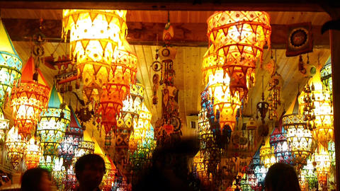 golden lantern shop at night,tourist sketch,shanghai china Animation