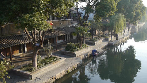 human wash cloths in river,Traditional Chinese houses,XiTang Water Town,china Animation