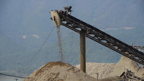 Long conveyor belt transporting sand to the manufacturing plant Animation