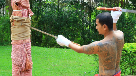Daab Song Meu in traditional Thai martial art Footage