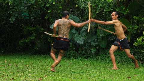 Traditional thai martial art Two hand thai swords Footage