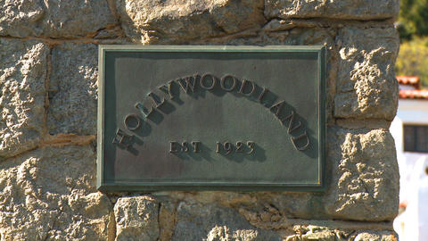 Hollywoodland Plaque Slow Zoom stock footage