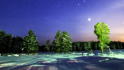 Winter night landscape. Time Lapse. 4K Footage
