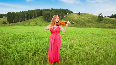 Violinist Plays on a Green Meadow Footage