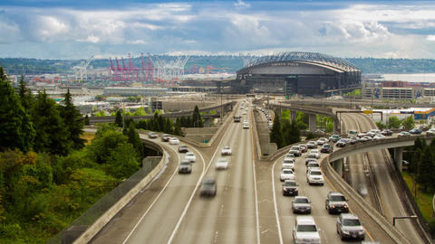 Seattle Safeco Field stadium with traffic Footage