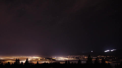 Night view of fog covers city of Vancouver Footage