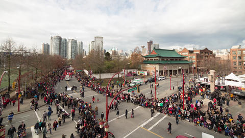 Chinese New Year Parade In Chinatown, Vancouver stock footage