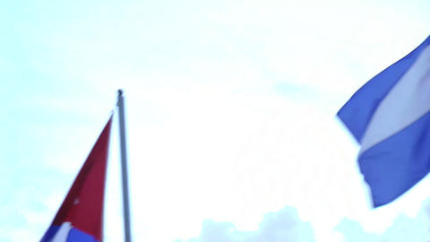 Close up of flags against the sky Footage