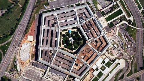 Satellite Zoom into U.S. Pentagon (30fps) Footage