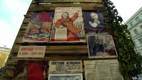 Propaganda posters in the blockade Leningrad. 2.7K Live Action