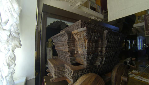 Cart of carved wood. Kunstkamera. Saint-Petersburg Footage