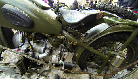 Military motorcycle 2.7K Footage