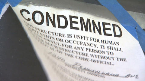 Condemned Sign stock footage