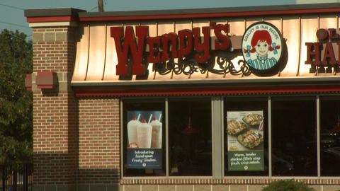 Wendys Fast Food Closeup 2 stock footage