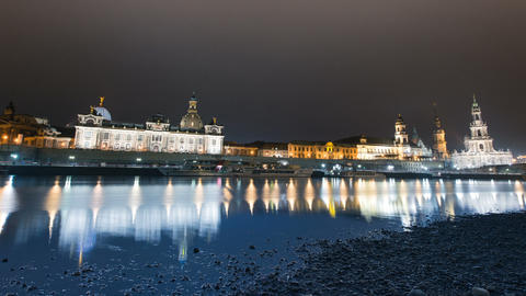 Old Town Dresden At Night Time Lapse 11277 stock footage