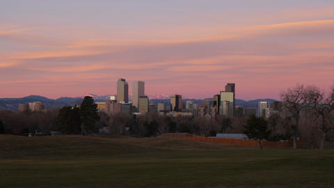 4K Pink Clouds over Denver Skyline Time Lapse Footage