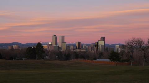 4K Pink Clouds over Denver Skyline Time Lapse Footage