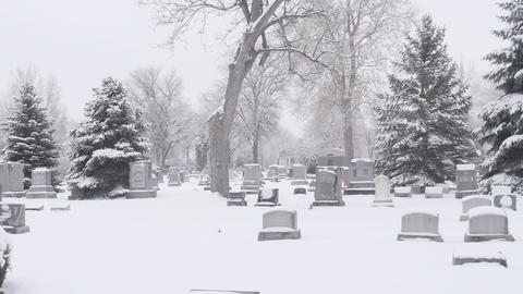Graveyard In Snow Vehicle Mount stock footage
