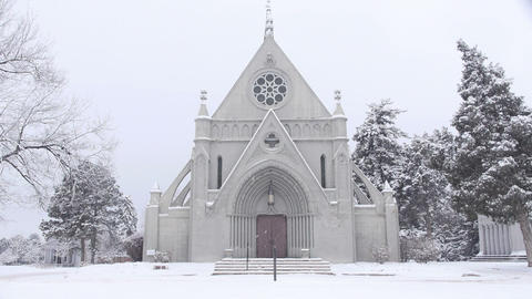 Historic Church in a Snowstorm Live Action