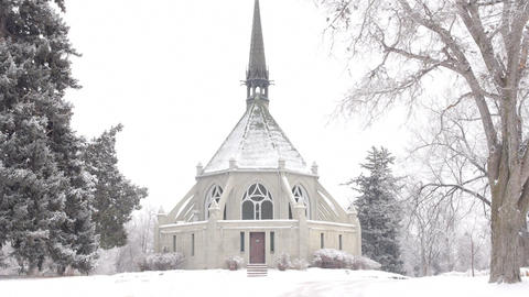 Scenic Church in Winter Footage