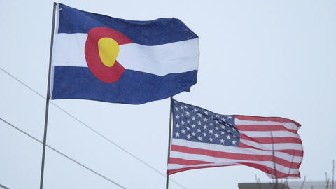 Colorado and United States Flags Footage