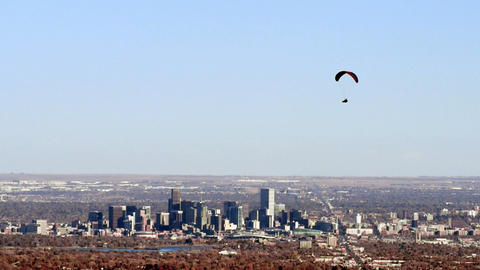 Paragliding over Downtown Denver Footage