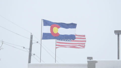 Colorado Flag in a Blizzard Footage