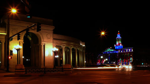 Denver Landmarks with Traffic at Night Footage
