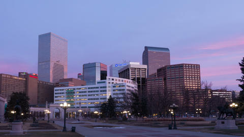 Denver Skyline Pink Sunrise Footage