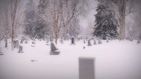 Creepy Cemetery From Vehicle Mount Camera stock footage