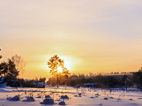 Winter landscape in the morning. Time Lapse. 640x4 Footage
